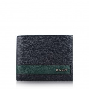 Bally Navy Blue and Green Leather Men Wallet