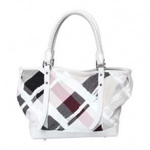 Burberry Multi Colour Painted Check Canvas Tote Bag