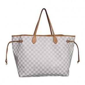 Louis Vuitton White Neverfull GM Damier Azur Tote Bag