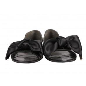 Stuart Weitzman Black Patent Leather Peep Toe Flats with Bow Detailing
