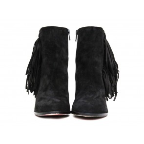 Christian Louboutin Black Suede Fringe Ankle Boots