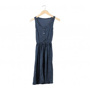 Dark Blue Heart Pattern Sleeveless Midi Dress