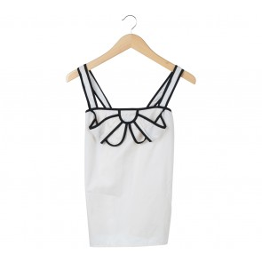 Ladybird Off White And Black Trim Ribbon Sleeveless
