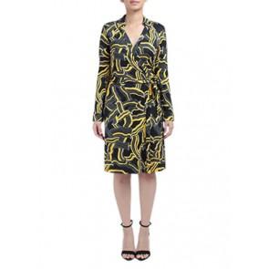 Black and Yellow Wrap Midi Dress