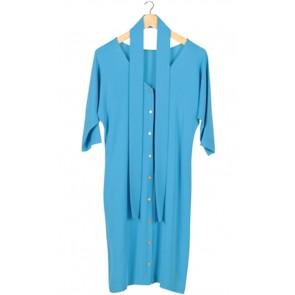 Blue Button Midi Dress