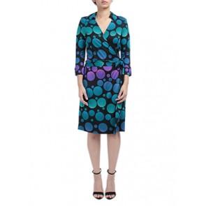 Multi Dots Wrap Midi Dress