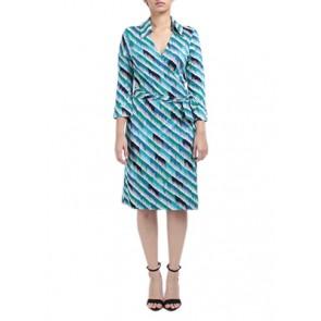 Multi Green Silk Wrap Midi Dress