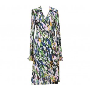 Diane Von Furstenberg Multi Colour Wrap Midi Dress