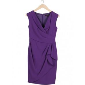 Purple Wrap Midi Dress