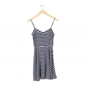 Cotton On Black And White Striped Sleeveless Mini Dress