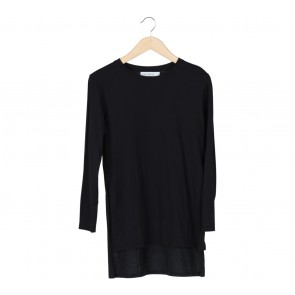 Cotton Ink Black Slit T-Shirt