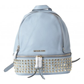 Michael Kors Blue Rhea Studded Leather Zip Medium Backpack