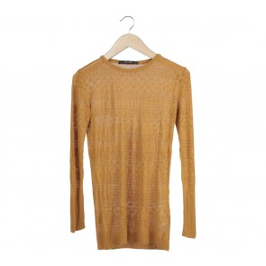 Zara Yellow Perforated Sweater