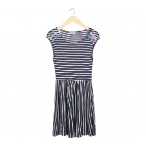 Pull & Bear Dark Blue And White Striped Embroidery  Mini Dress