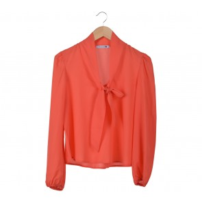 Forever 21 Peach Bowed Blouse