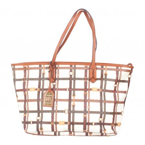 Ralph Lauren Brown And White Tote Bag