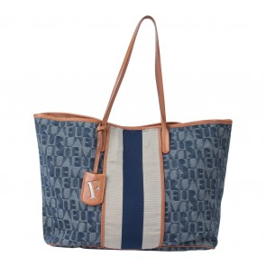 Furla Dark Blue And Cream Monogram Denim Tote Bag