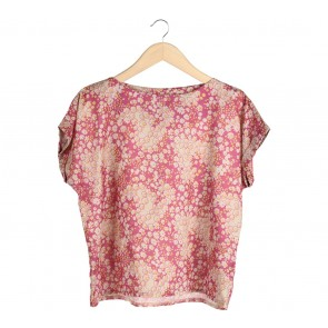 Shop At Velvet Pink And Yellow Floral Loose Blouse