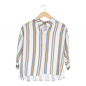MiNa White Striped Blouse