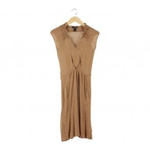 Mango Brown And Cream Polka Dot Midi Dress