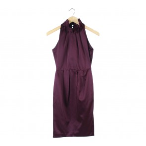 Massimo Dutti Dark Purple Back Cut Out Midi Dress