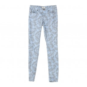 Forever 21 Blue And Grey Floral Pants