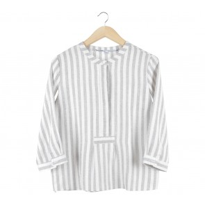 Just Female Grey And Off White Striped Blouse