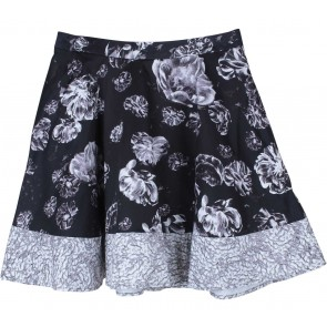 Prabal Gurung Black And Grey Floral Skirt