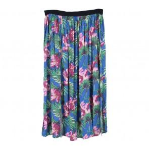 Topshop Blue Floral Slit Skirt