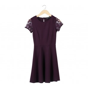 Dorothy Perkins Purple Lace Insert Midi Dress