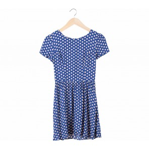 Topshop Blue With Cream Dotted Mini Dress