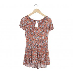 New Look Orange Floral Jumpsuit
