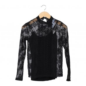 Stradivarius Black Lace Blouse