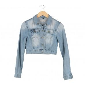 Topshop Blue Cropped Washed Jaket