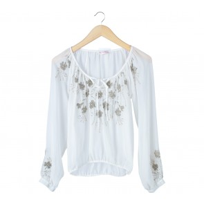 Miss Selfridge Off White Sequins Blouse