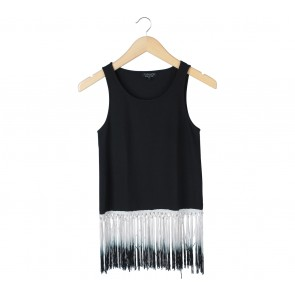 Topshop Black Fringe Sleeveless