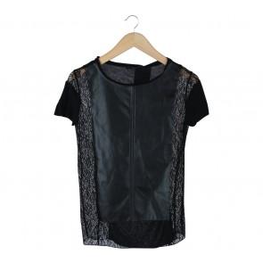 Zara Black Leather Lace Insert T-Shirt