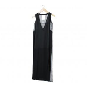 (X)SML Black And White Slit Long Dress