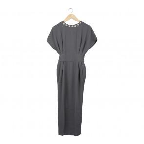 (X)SML Dark Grey Beaded Black Slit Long Dress
