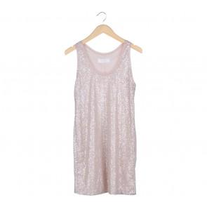 Zara Pink And Grey Sequin Mini Dress