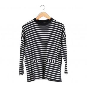 Cotton Ink Black And White Striped T-Shirt