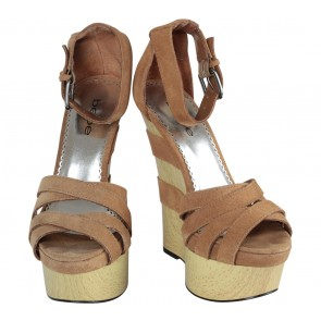 Bebe Brown Ankle Strap Wedges
