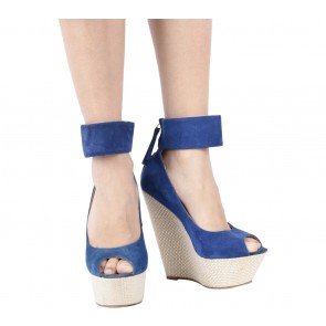 Gianmarco Lorenzi Blue Ankle Strap Wedges