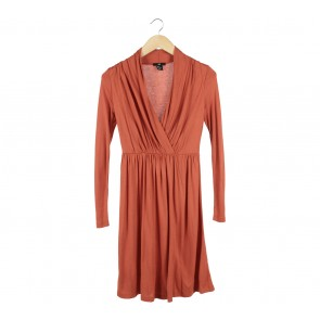H&M Orange Wrap Midi Dress
