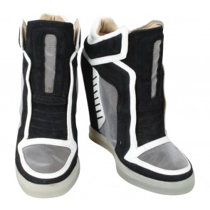 L.A.M.B Black And White Wedge Sneakers