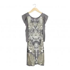 Mango Grey Printed Midi Dress