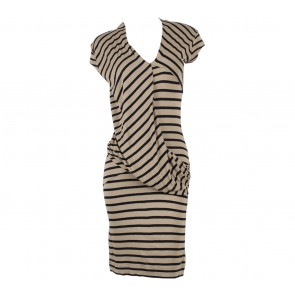 Mango Light Brown And Black Striped Midi Dress