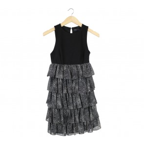 Zara Black Leopard Ruffle Mini Dress