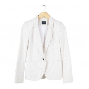 Zara Cream And White Striped Blazer