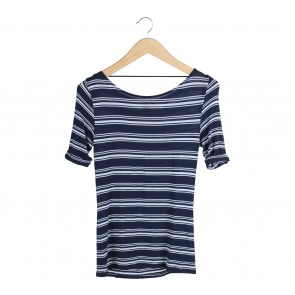 Cotton On Dark Blue And White Striped T-Shirt